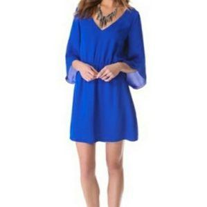 DOLCE VITA V-NECK COBALT BLUE SILK DRESS